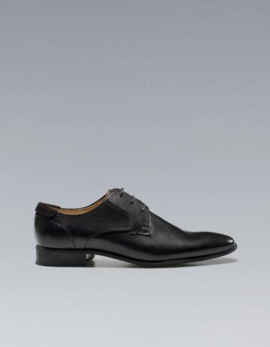 Zara Black Smooth Leather Blucher